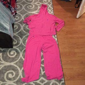 Ralph Lauren pink pant & zip up hoodie set